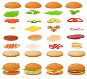 Burger vector fast food hamburger or cheeseburger constructor with ingredients meat bun tomato and cheese illustration. Fastdood sandwich or beefburger Royalty Free Stock Image