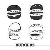 Burger vector icon. Burgers vector icons or elements for logo. Silhouette burger Royalty Free Stock Images