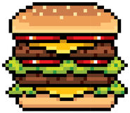 Burger. Vector Illustration of Burger - Pixel design Stock Photography