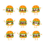 Burger - vector set of mascot illustrations. Burger Cartoon Character - modern vector template set of mascot illustrations. Gift images of burger, dancing Stock Photo