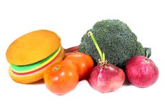 Burger and vegetables Stock Photo