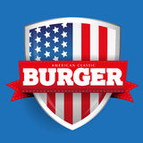 Burger vintage shield with USA flag Royalty Free Stock Photo