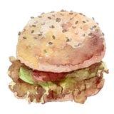 Burger Watercolor που σύρεται χέρι, Στοκ εικόνα με δικαίωμα ελεύθερης χρήσης