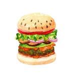 Burger Watercolor Στοκ εικόνα με δικαίωμα ελεύθερης χρήσης