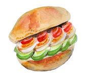 Burger watercolor Royalty Free Stock Photos