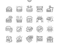 Burger Well-crafted Pixel Perfect Vector Thin Line Icons 30 2x Grid for Web Graphics and Apps. Simple Minimal Pictogram Royalty Free Stock Photos