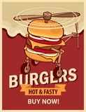 Burger with wheels and a propeller Royalty Free Stock Photography
