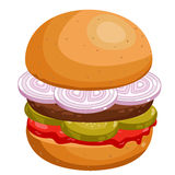 Burger on white background. Royalty Free Stock Photography