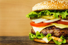 Burger in a white plate Royalty Free Stock Photo