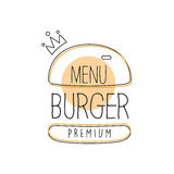 Burger Wih Crown Premium Quality Fast Food Street Cafe Menu Promotion Sign In Simple Hand Drawn Design Vector Royalty Free Stock Image