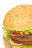 Burger With A Vegetarian Cutlet And Fresh Vegetables, Close-up Royalty Free Stock Image