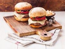 Burger With Coleslaw Stock Photos