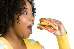 Burger Woman Royalty Free Stock Photography