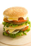 Burger on wood Royalty Free Stock Photo