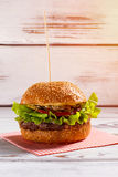 Burger on wooden stick. Stock Image
