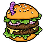 Burger with worm Royalty Free Stock Photos