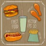 Burger, Würstchen, Soda, Pommes-Frites, Hühnerbeine auf hölzernem Hintergrund Schnellimbiß für Café- und Restaurantmenü Vektor Stockbilder