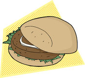 Burger on Yellow Background Stock Photography