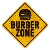 Burger Zone Sign. Tin Old Rustic Grunge Cheeseburger Hamburger Metal Road highway Restaurant Diner BBQ Grill Bar Pub Eat Restaurant stock image