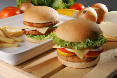 Burger01. A beef burger and a chicken burger Royalty Free Stock Photos