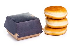 Burgerbrötchen-Burgerkasten lizenzfreies stockfoto