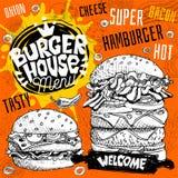 Burgerhauscafé-Restaurantmenü Vector Schnellimbiss-Fliegerkarten des Hamburgers für Stangencafé Entwerfen Sie Schablone, Logo, Em lizenzfreies stockbild