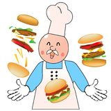The burgering master cook. Cartoon chef juggling with burgers displaying total mastery of the most delicious burger preparation Royalty Free Stock Images