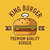 Burgerlogo, Cafélogo, Restaurantlogo, Burger-Karikatur Stockfotografie