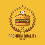 Burgerlogo, Cafélogo, Restaurantlogo, Burger-Karikatur Lizenzfreie Stockbilder