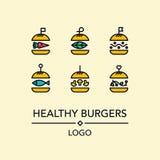 Burgerlogo in der linearen Art Lizenzfreie Stockfotografie
