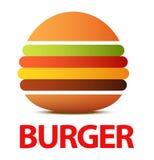 Burgerlogo oder -ikone für Café, flache Illustration des kreativen Vektors lokalisiert auf Weiß lizenzfreie abbildung