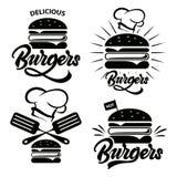 Burgerlogosatz mit Beschriftung Emblem, Ikone, Aufkleber für Restaurant oder Caféentwurf Burger, der Illustration beschriftet Vek stock abbildung