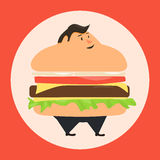 Burgerman. People who eat too many burgers Royalty Free Stock Photo
