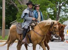 Burgeroorlog Reenactors op Horseback Royalty-vrije Stock Afbeeldingen