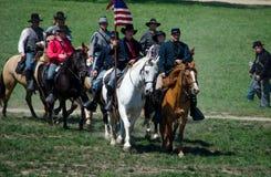 Burgeroorlogmilitairen op horseback Royalty-vrije Stock Foto's