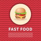 Burgerplakat Stockfoto