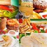 Burgers και συλλογή σάντουιτς σε ένα κολάζ Στοκ εικόνα με δικαίωμα ελεύθερης χρήσης