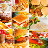 Burgers και συλλογή σάντουιτς σε ένα κολάζ Στοκ Εικόνα