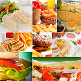 Burgers και συλλογή σάντουιτς σε ένα κολάζ Στοκ φωτογραφία με δικαίωμα ελεύθερης χρήσης