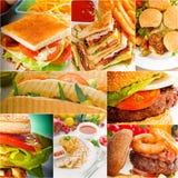 Burgers και συλλογή σάντουιτς σε ένα κολάζ Στοκ Φωτογραφία