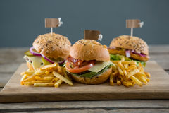 Burgers με τις τηγανιτές πατάτες που εξυπηρετούνται στον τέμνοντα πίνακα Στοκ εικόνα με δικαίωμα ελεύθερης χρήσης