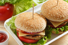 Burgers σε ένα εμπορευματοκιβώτιο Στοκ Εικόνες