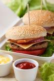 Burgers σε ένα εμπορευματοκιβώτιο Στοκ φωτογραφία με δικαίωμα ελεύθερης χρήσης