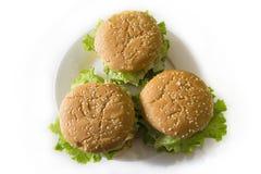 Burgers στο πιάτο Στοκ εικόνα με δικαίωμα ελεύθερης χρήσης