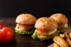 burgers τρία στοκ εικόνες