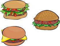 Burgers royalty free illustration