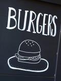 Burgers advertized on blackboard in Barcelona, Spain Stock Images
