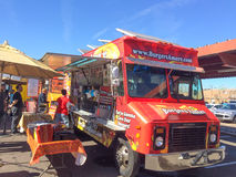 Burgers Amore Red Food Truck Stock Photo