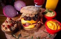 Burgers and bacon royalty free stock image