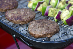 Burgers on BBQ Stock Photo